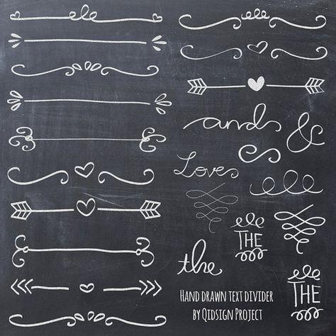 Handgezeichnete Kreide doodle Text Teiler swirly ClipArt für Scrapbooking Hochzeit Einladung kommerzielle Nutzung sofort-download