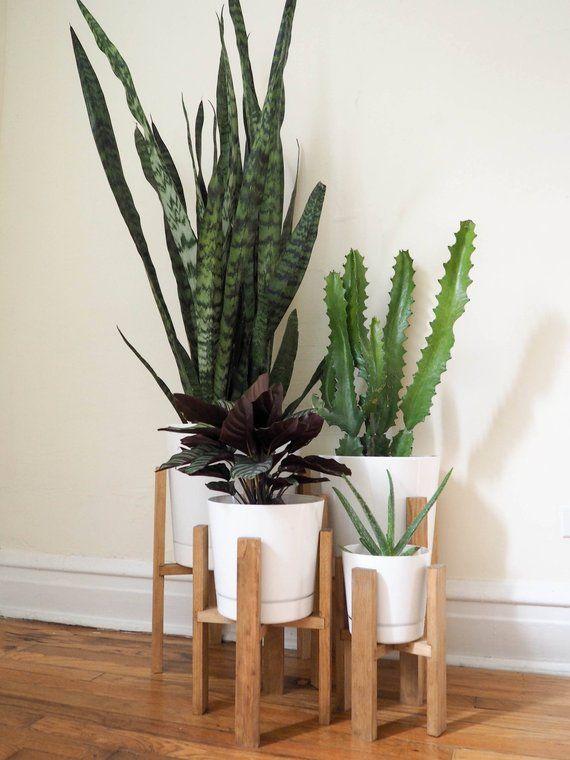 Mid Century Modern Plant Stand Wooden Indoor 6 8 10 12 Pots Moder