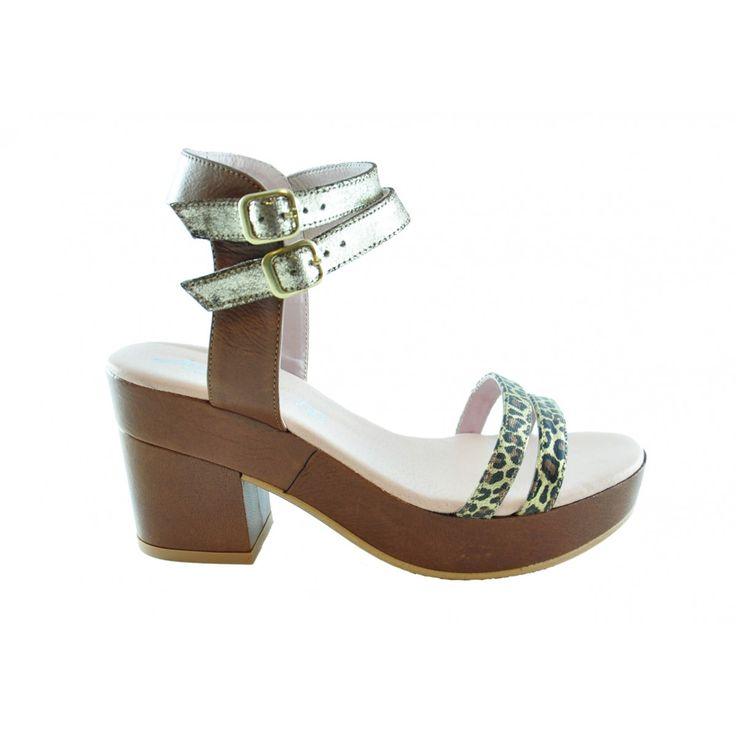 Sandalias de tacon Marron/Leopardo  #sandalias #cuñas #verano #primavera #moda #mujer