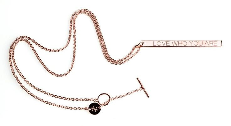 Power Quote LOVE WHO YOU ARE Necklace - HeidisHoff.no #love #rosegold