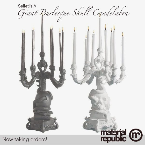 #materialrepublic is now taking orders for these bold 'Giant Burlesque Skull Candelabra' by Seletti // Available in Black or White! Follow this link to enquire now! #monochrome #homewares #interiordesign #skull
