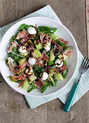 Salade met ham en meloen