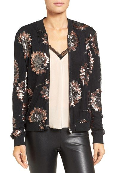 Free shipping and returns on Chelsea28 Sequin Bomber Jacket at Nordstrom.com. Up the wattage of any look with a femme bomber jacket embellished with shimmering sequins artfully set to resemble blossoming flowers.
