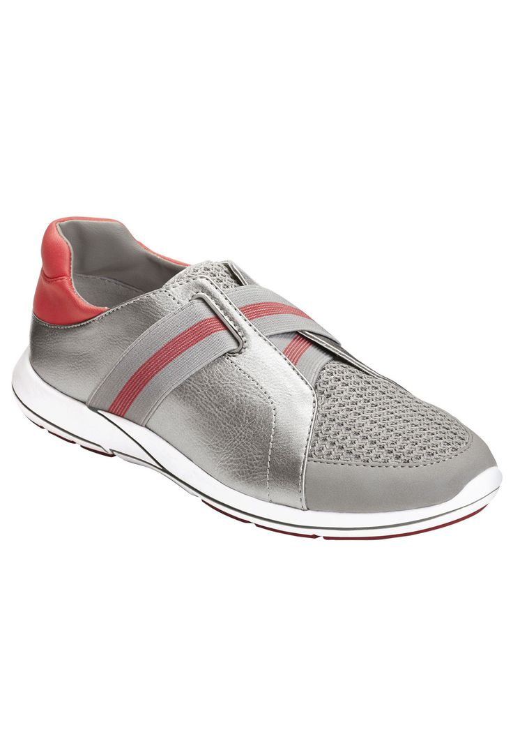 "Hit the road in style and comfort with these sporty-chic sneakers!     combo upper for all kinds of texture  overlapping elastic strap with racing stripe  CORE COMFORT technology  memory foam footbed  flex bottom sole 1¼"" heel   Sporty sneakers available in sizes 7-11, 12 M"