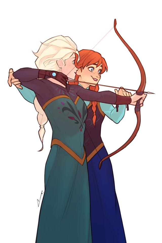 Sketch - Anna Teaches Elsa the Bow by charlestanart