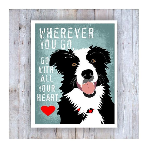Border Collie Art Border Collie Print Go With All by GoingPlaces2