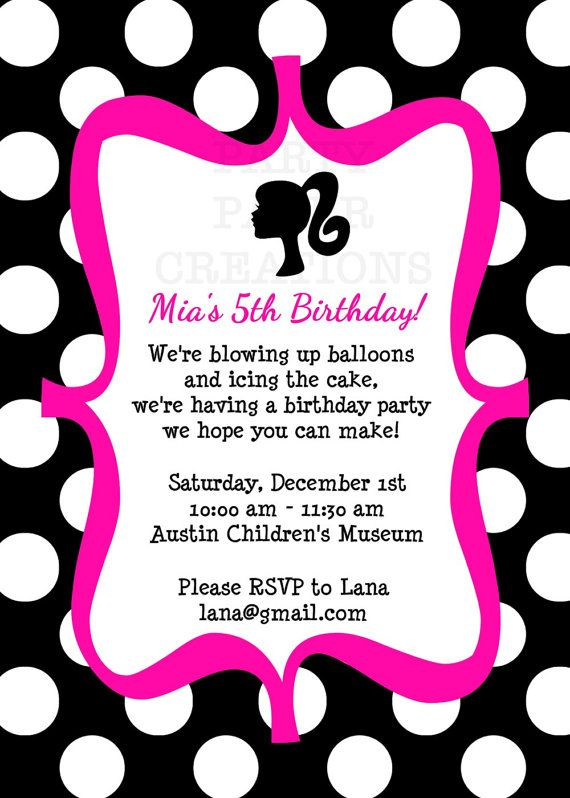 27 best fashion party images on pinterest barbie party barbie barbie birthday invitation barbie silhouette printable dots and hot pink filmwisefo