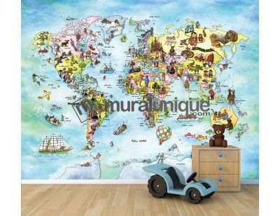 """The Educational Room. Here is our mural """"Kids World"""" (available in French and in English). A Wallpaper Mural by Muralunique.com. An original painting from Johanne Pépin."""