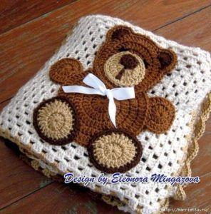Aplique cochecito de bebe a crochet