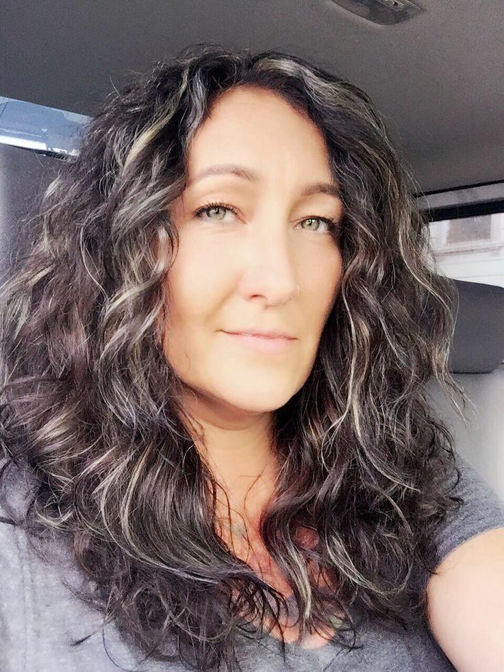 dark hair with silver highlights