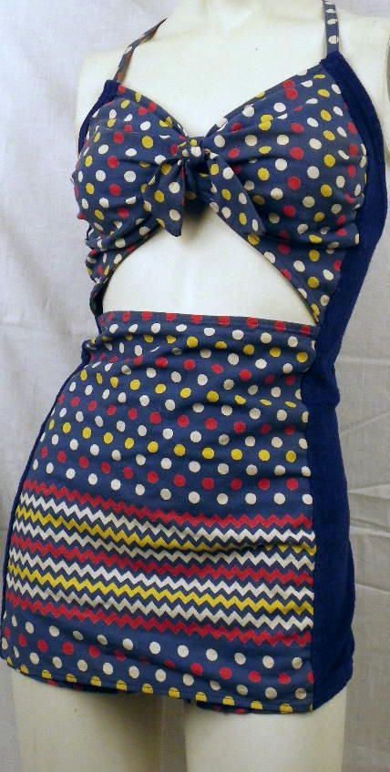 Funky retro one piece with cut out front! :: Pin Up Swimwear:: Polka Dot Bathingsuits:: 1940s style swimsuit