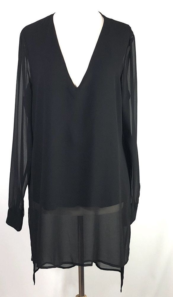 00397eed242 Womens Long Tall Sally Black Fabric Mixed Hi Low Tunic Top Size US 12 UK 16  #fashion #clothing #shoes #accessories #womensclothing #tops (ebay link)