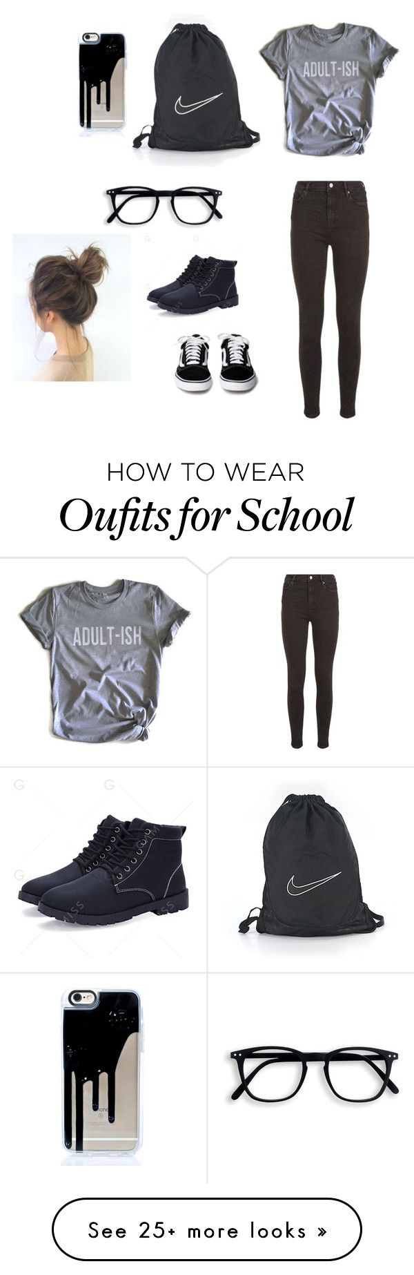 """All black school attire"" by rojasmelje on Polyvore featuring AllSaints, Humör and NIKE"