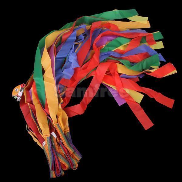 Bulk 12pcs colorful Hand Held Dance Rainbow Ribbon Children Tos party favor prop