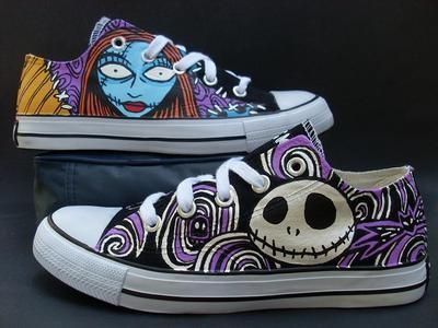 New! The Nightmare Before Christmas Jack Sally Handpainted Custom Shoes WM SZ 8....I wish they were not sold out, I really want them!! LOVE THEM!!!!