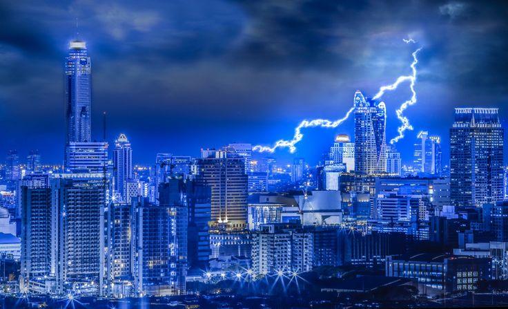 Таиланд Небоскребы Бангкок Молния Ночь Города