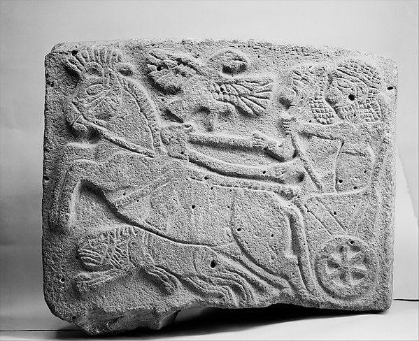 Orthostat relief: lion-hunt scene  Period:Neo-Hittite Date:ca. 9th century B.C. Geography:Syria, Tell Halaf (ancient Guzana) Culture:Hittite Medium:Basalt, paint Dimensions:H. 22 in. (56 cm)