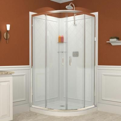 DreamLine Prime 33 in  x 33 in  x 76 75 in  Corner Framed Sliding Shower  Enclosure in Chrome with Acrylic Base and Back Walls Kit  Chrome Finish  Hardware. 25  best ideas about Corner Shower Kits on Pinterest   Shower kits