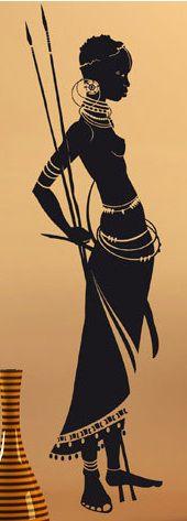 Guerrière Maasaï + silhouette