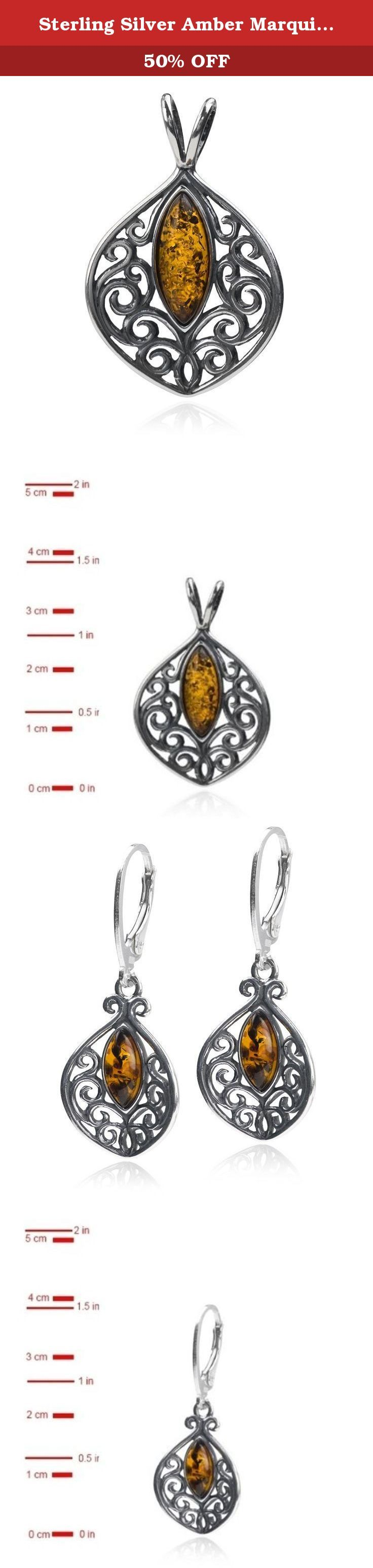 Sterling Silver Amber Marquise Shaped Pendant Earrings Necklace Set Chain 18 Inches. Most of our amber found in Baltic sea area. Baltic sea considered to have biggest deposits of amber and quality of gemstone in this region is better than in any other location. Besides Baltic region there are large deposits of amber in Dominican republic, Columbia and Africa.