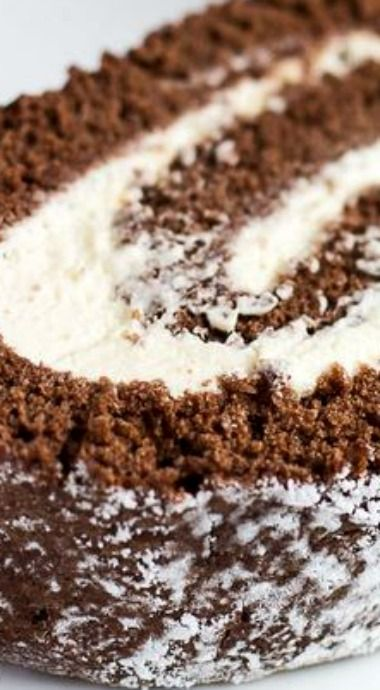 Chocolate Swiss Roll aka Cake Roll. This is filled with sweetened whipped cream, but there are many other fillings that could be used.