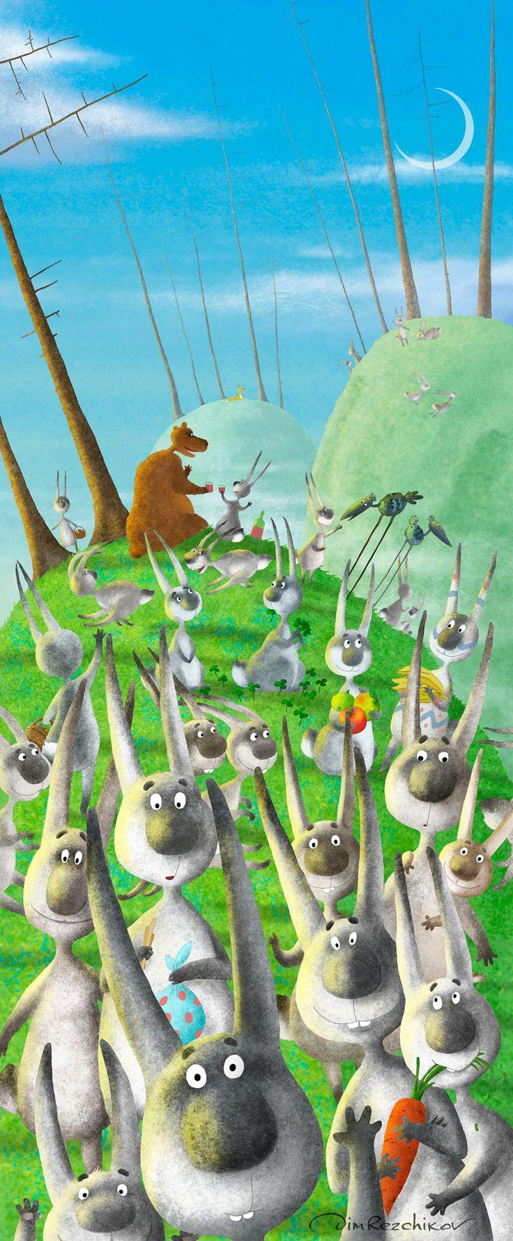 Бес зайцев  Bunny spirit  art • russian • illustration • calendar • drawing • artist • illustrator • fantasy • spring • hare • bunny