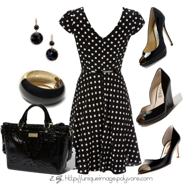 """Polka dots are so fun; this could be your """"happy"""" dress or slip on a cardigan and it could be office material:)"""