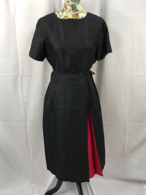 VTG Dress 50s/ 60s Black Party Dress Red Peakaboo Rockabilly Pin Up Swing