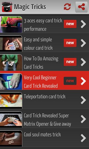 Magic Tricks is the best application to learn magic tricks, as well as show you the trick reveals how. We will teach you how to do magic tricks with cards, coins and other just with your hands. <p>Thanks to this application you can learn magic tricks and amaze your friends, or flirting. Note that magic loves the girls. <p>Card magic is very interesting and easy to learn if you know the procedure. We believe the best way to learn magic tricks are the videos, and you can play as many times as…