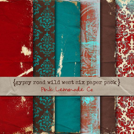 Digital Scrapbook Paper Gypsy Road Wild West Six Pack Red Turquoise Brown Part 57