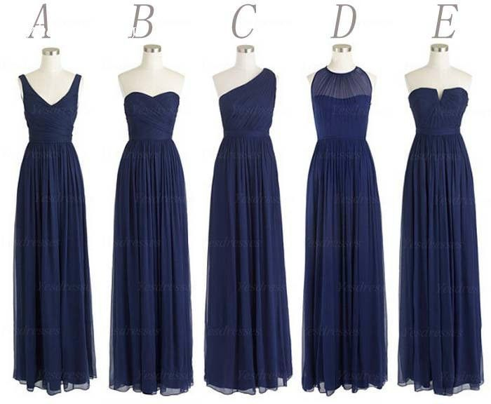 5 Styles Wedding Party One Shoulder Chiffon Floor Length Long Navy Blue Bridesmaid Dresses Wholesale Free Shipping S23 100