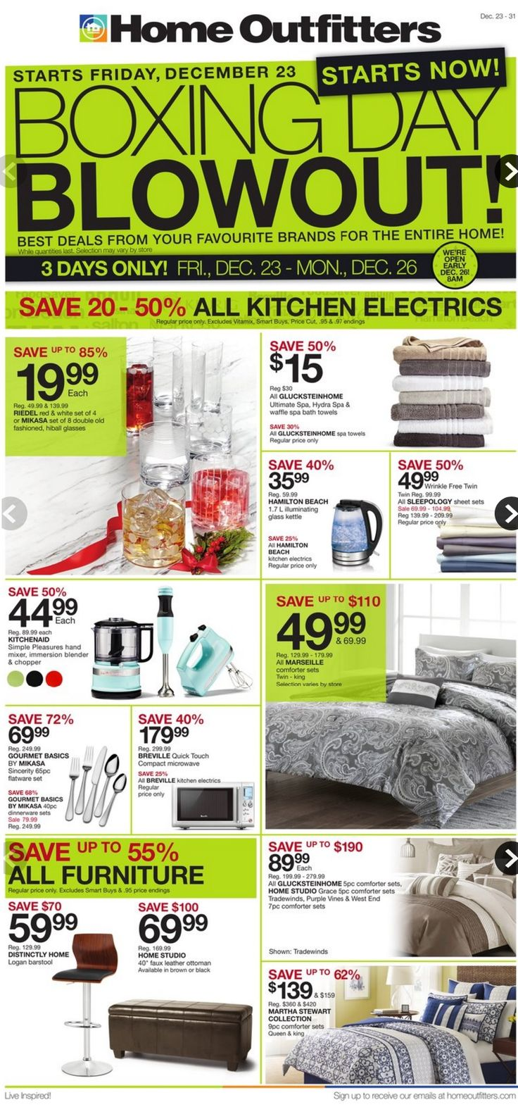 Home Outfitters Boxing Week Flyer December 23 - December 31, 2016