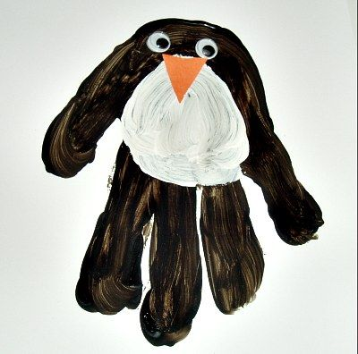 Handprint Penguin craft to make. Too cute!