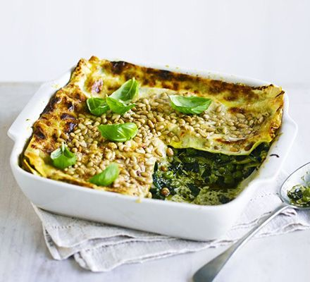 This vegetarian bake from reader Lucy Nanor is packed with spinach and peas along with creamy pesto and mascarpone sauce