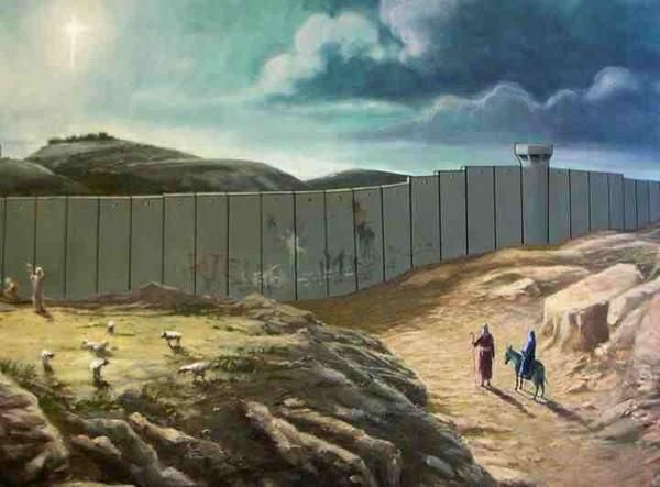 Tarjeta de Navidad diseñada por Banksy.: Christmas Cards, Families Wall, Street Art, Banksy Christmas, De Banksy, Holy Land, Xmas Cards, Streetart, Middle East