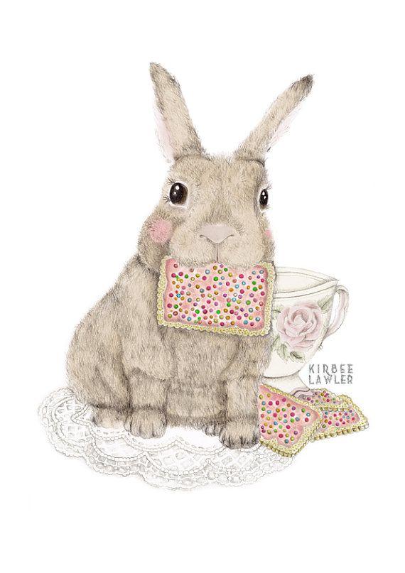 Cute illustrations  - Coniglietto tè A4 stampa artistica di kirbeeart su Etsy