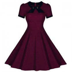 Retro Style Round Collar Short Sleeve Spliced Button Embellished Dress For Women (WINE RED,M) | Sammydress.com Mobile
