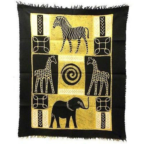 African Animals Batik in Black/White Handmade and Fair Trade. Batiked and painted by hand, this vertically-oriented barkweave cotton wall hanging features African animals. It measures 29.5 by 39 inches (75cm X 1 M). Wall tapestries | Wall tapestry decor ideas | Living room | Bedroom | apartment bohemian | nature | wild life | tribal | rustic | forest | art | Africa | African | tribe tribal | raw | tree | animals | Traditional Handmade | hippies | hipsters | raw | rural | elephant giraffe…