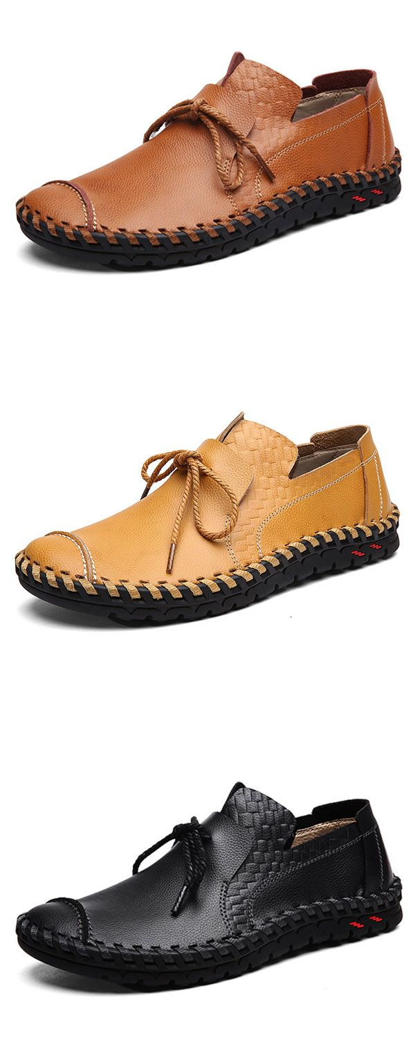 US$49.99 + Free shipping. Men's shoes, casual flats, leather flat shoes, outdoor oxfords shoes, summer shoes. Color: black, brown, yellow.