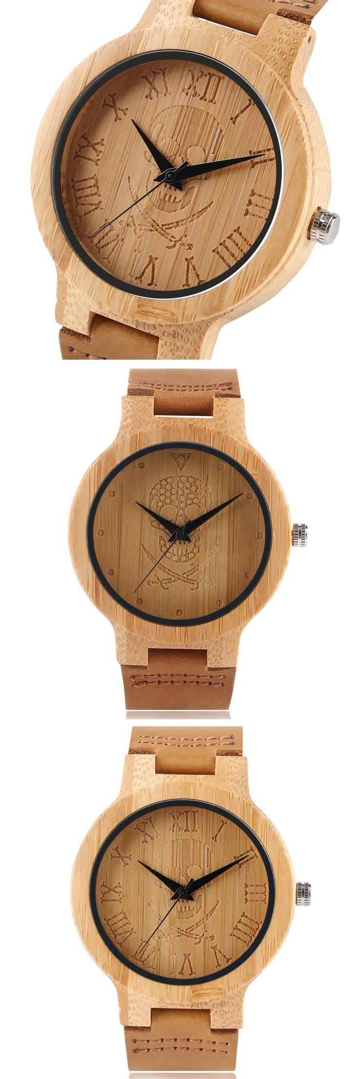 Creative Wooden Watch Genuine Leather Band Strap Trendy Wrist Watch Skull Novel Cool Handmade Bamboo Pirate Dial Montre en bois
