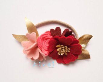 Corona de Navidad roja flor diadema flor por kireihandmade en Etsy