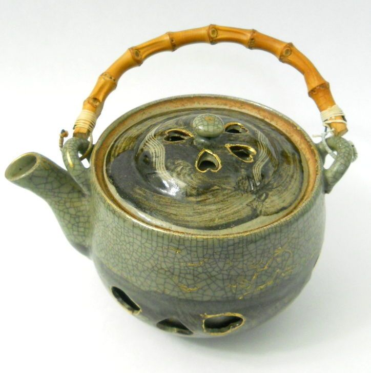 Details about Vtg Japan Green Teapot Somayaki Crackle Glaze Bamboo Handle Heart Side Cutouts