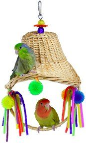 """Now this is cute! Your bird will love sitting on the swing and pulling on the dangling streamers. The woven basket adds a bit of secrecy and style! Super Bird Creations bonnet swing 13"""" tall from top to the base of the swing. It's sturdy and fun!"""