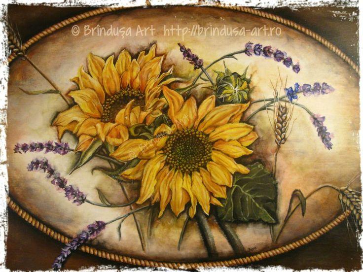Sunflowers, lavender and wheat – the front of an old cottage trunk, painted in acrylics: 65 x 43.5 cm (25.5 x 17 inches).  Floarea-soarelui, levănţică şi spice de grâu – partea din faţă a unei lăzi vechi, de la ţară, pictate în culori acrilice: 65 x 43,5 cm.  #woodpainting #picturapelemn #paintedfurniture #mobilapictata #paintedtrunk #restoredtrunk #cottage #sunflowers #lavender #wheat #acrylics #acrilice #handmade #BrindusaArt