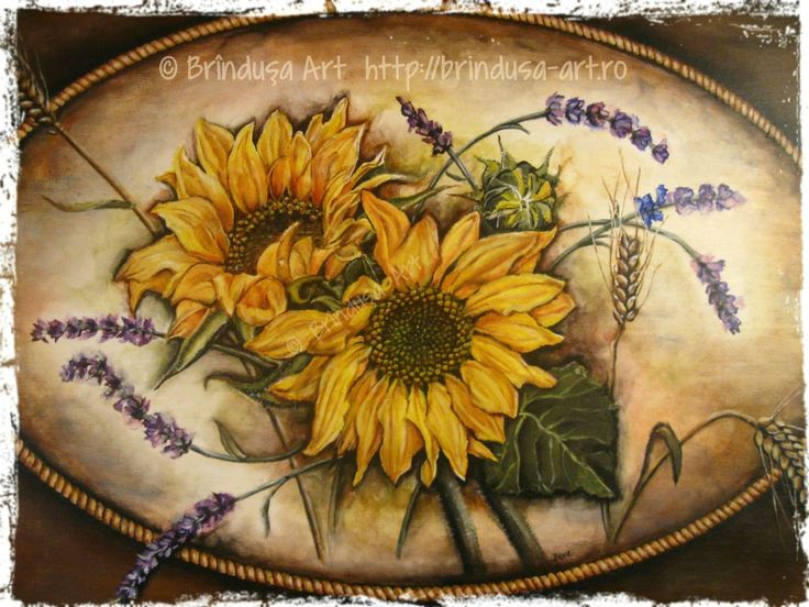 Sunflowers, lavender and wheat – the front of an old cottage trunk, painted in acrylics: 65 x 43.5 cm (25.5 x 17 inches).  Floarea-soarelui, levănţică şi spice de grâu – partea din faţă a unei lăzi vechi, de la ţară, pictate în culori acrilice: 65 x 43,5 cm.  #woodpainting #picturapelemn #paintedfurniture #mobilapictata #paintedtrunk #restoredtrunk #cottage #sunflowers #lavender #wheat #acrylics #acrilice #handmade #BrindusaArt
