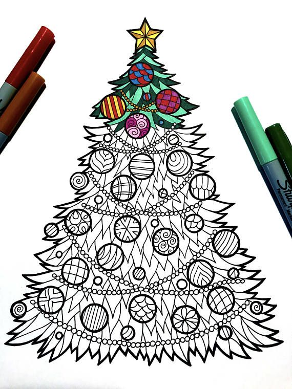 Christmas Tree PDF Zentangle Coloring Page in 2020
