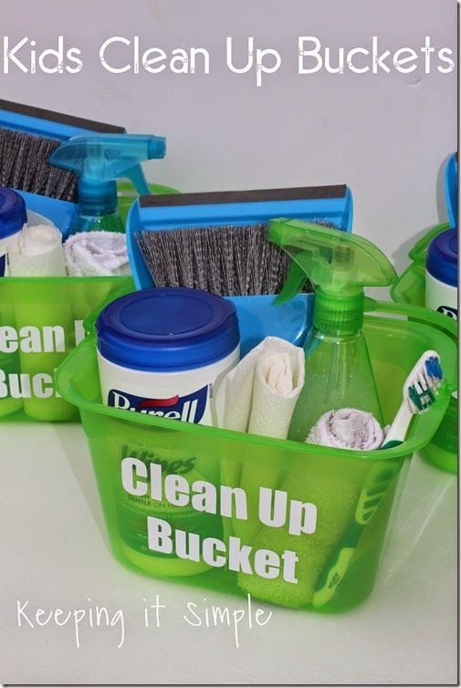 Individual Kids Clean Up Buckets Personalized With The