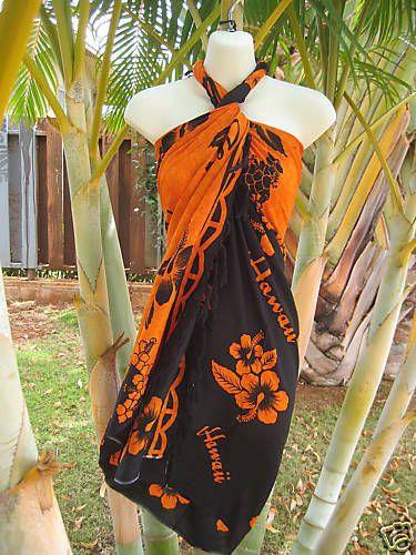 Hawaii-Sarong-Orange-Black-Hibiscus-Coverup-Hawaiian-Pareo-Beach-Luau-Dress