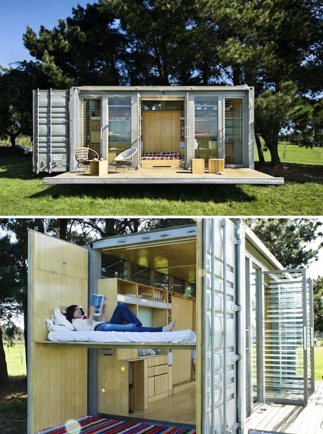 Port-A-Bach Shipping Container Home 1. Small houses and spaces made from shipping containers. Guest house idea!