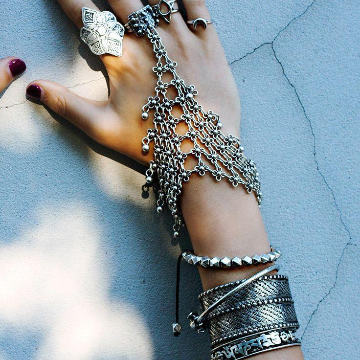 In store now at www.shopdixi.com shopdixi , gypsy, gypsy style, boho , bohemian, hand harness, slave bracelet